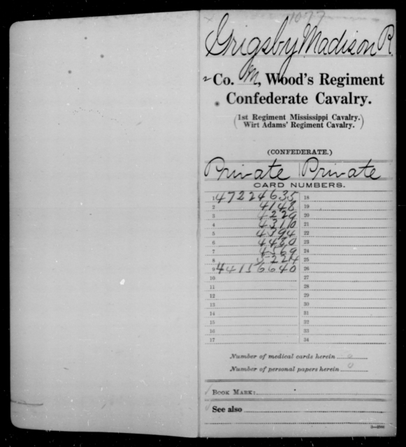 Grigsby, Madison R - Age [Blank], Year: 1862 - Wood's Regiment, Confederate Cavalry, F-He - Raised Directly by the Confederate Government