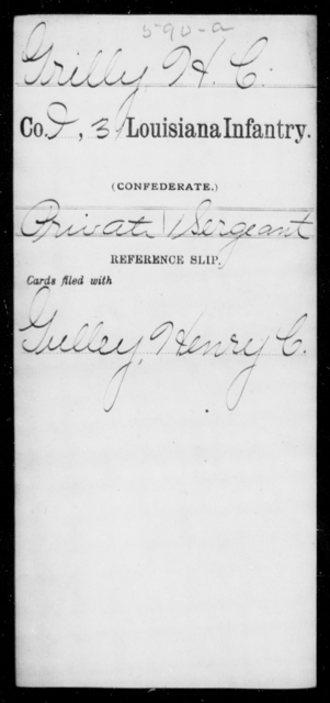 Grilly, H C - Age [Blank], Year: [Blank] - Thirty-first Infantry, Cr - G AND Roll Military Unit - Louisiana