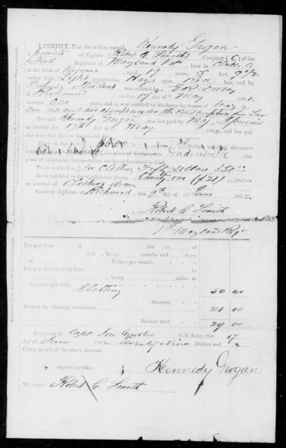 Grogan, Kennedy - Age 17, Year: 1861 - First Infantry, E-L - Maryland