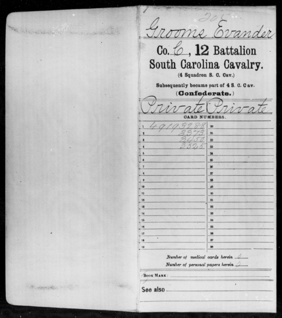 Grooms, Evander - Age: 27, Year: 1862 - South Carolina Twelfth Battalion, Cavalry (Fourth Squadron Cavalry)