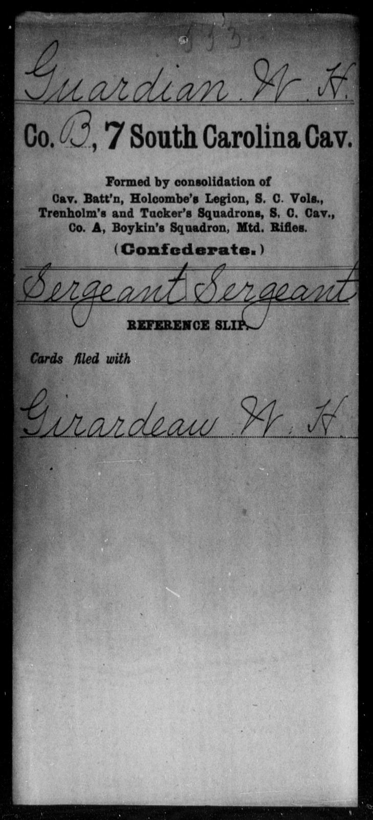 Guardian, W H - Age: [Blank], Year: [BLANK] - South Carolina Seventh Cavalry E-L