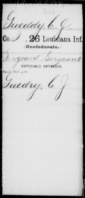 Gueddy, C J - Age [Blank], Year: [Blank] - Twenty-sixth Infantry, Gu - Me - Louisiana
