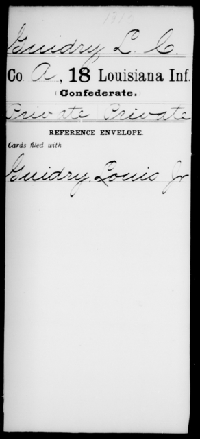 Guidry, L C - Age [Blank], Year: [Blank] - Eighteenth Infantry, G - I - Louisiana