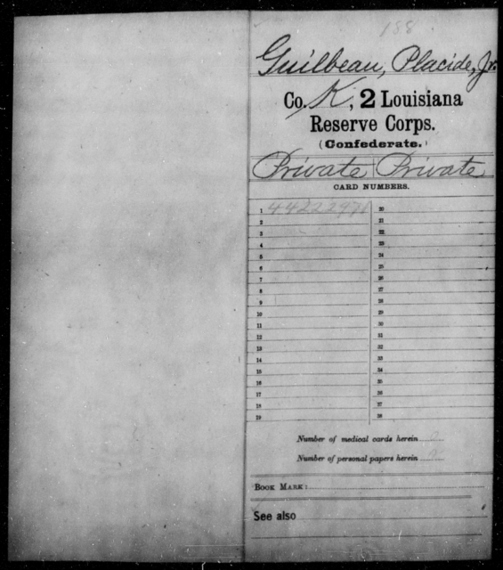 Guilbeau, Placide - Age [Blank], Year: 1865 - Second Reserve Corps - Louisiana