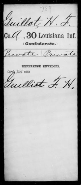 Guillot, H F - Age [Blank], Year: [Blank] - Thirtieth Infantry, Fe - J - Louisiana