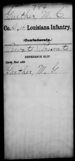 Guither, M C - Age [Blank], Year: [Blank] - Third Regiment, First Brigade, First Division, Militia,, L - Z - Louisiana