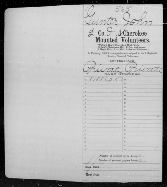 Gunter, John - Age [Blank], Year: 1863 - First Cherokee Mounted Volunteers, A-K - Raised Directly by the Confederate Government
