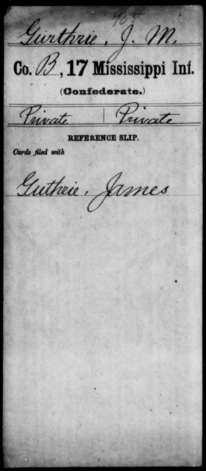 Gurthrie, J M - Age: [Blank], Year: [BLANK] - Mississippi Seventeenth Infantry, G-Ha