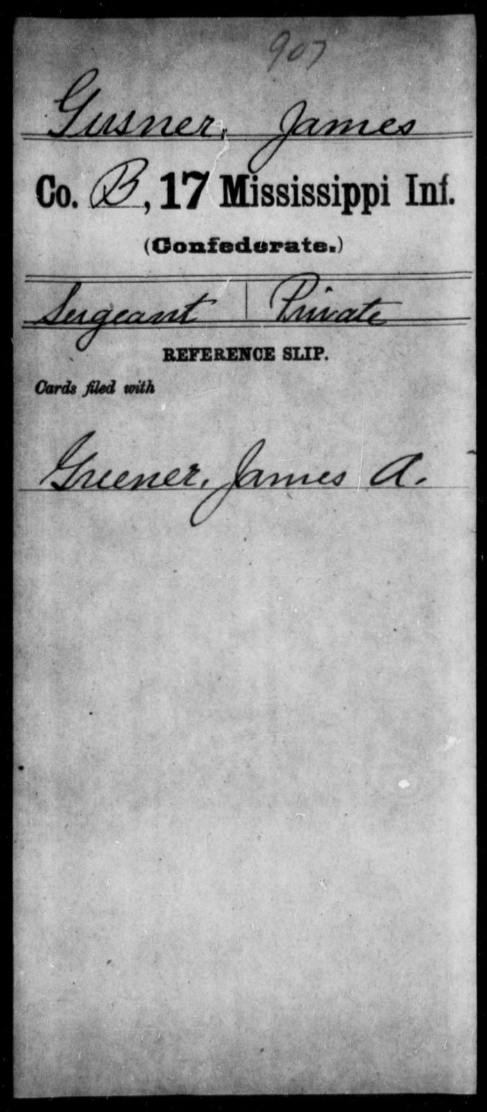 Gusner, James - Age: [Blank], Year: [BLANK] - Mississippi Seventeenth Infantry, G-Ha