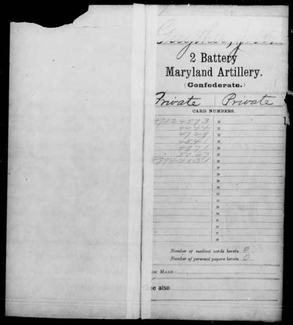 Guyther, J W - Age [Blank], Year: 1861 - First Battery Artillery, P-Y, Second Battery Artillery, A-J - Maryland