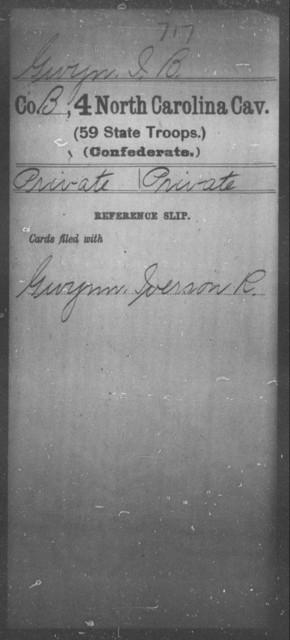 Gwyn, I B - Fourth Cavalry (59th State Troops)