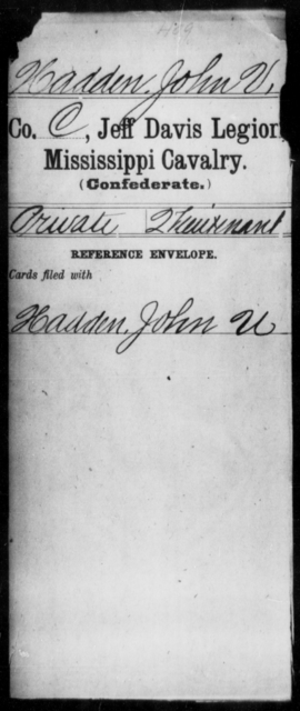 Hadden, John V - Age: [Blank], Year: [BLANK] - Mississippi Jeff Davis Legion, Cavalry, G-K