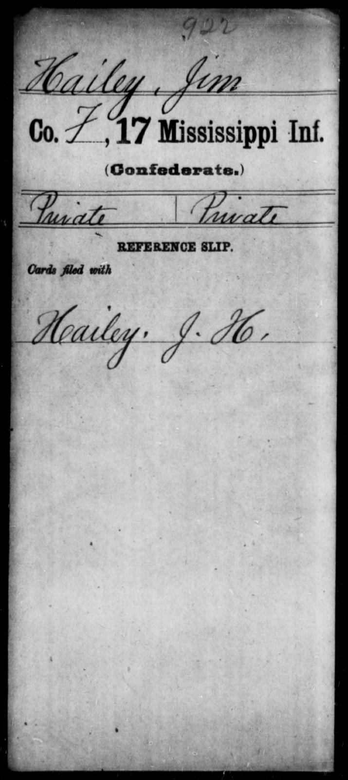 Hailey, Jim - Age: 17, Year: [BLANK] - Mississippi Seventeenth Infantry, G-Ha