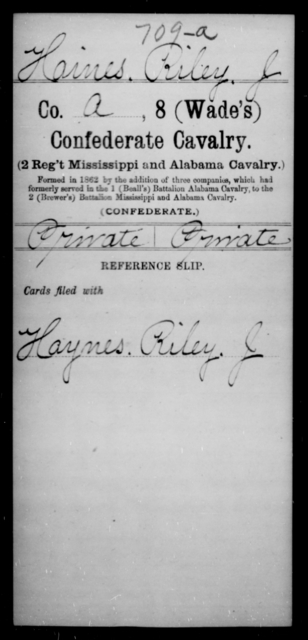 Haines, Riley J - Age [Blank], Year: [Blank] - Eighth Confederate Cavalry, E-K - Raised Directly by the Confederate Government