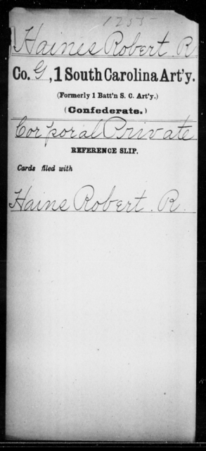 Haines, Robert R - Age: [Blank], Year: [BLANK] - South Carolina First Artillery Ge-Ho