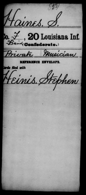 Haines, S - Age [Blank], Year: [Blank] - Twentieth Infantry, E - Ha - Louisiana