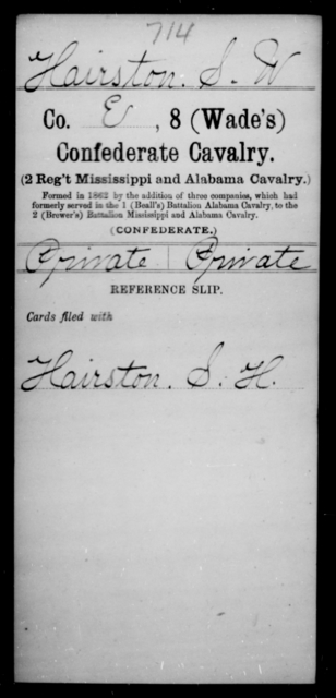 Hairston, S W - Age [Blank], Year: [Blank] - Eighth Confederate Cavalry, E-K - Raised Directly by the Confederate Government