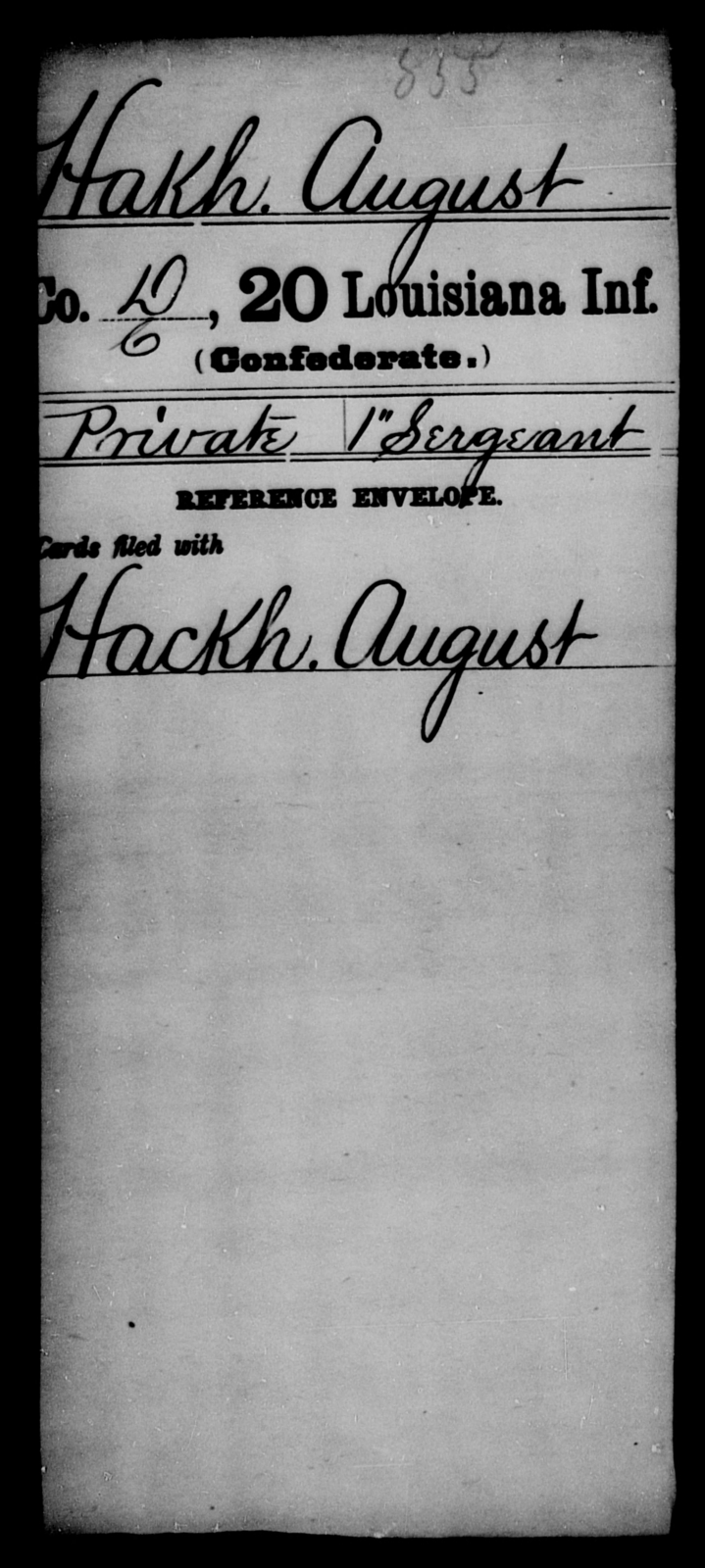 Hakh, August - Age [Blank], Year: [Blank] - Twentieth Infantry, E - Ha - Louisiana