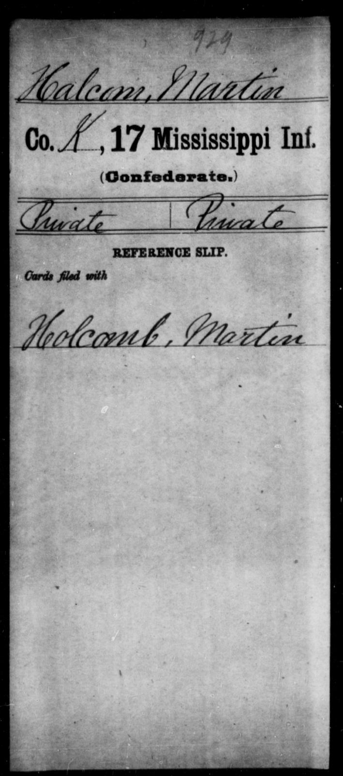 Halcom, Martin - Age: [Blank], Year: [BLANK] - Mississippi Seventeenth Infantry, G-Ha