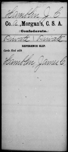 Hamblin, J C - Age [Blank], Year: [Blank] - Invalid Corps AND Officers Surnamed Morgan, CSA AND President's Guard, CSA AND Misc. Records - Raised Directly by the Confederate Government