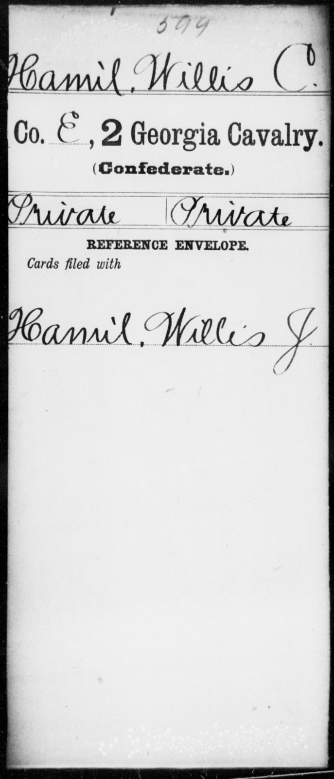 Hamil, Willis C - 2d Georgia Cavalry