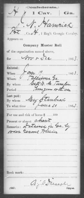 Hamrick, J N - 1st Cavalry
