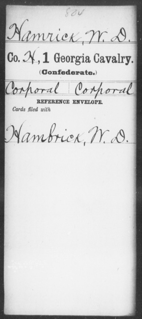 Hamrick, W D - 1st Cavalry