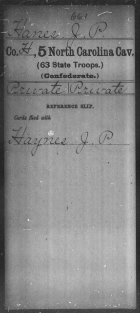 Hanes, J P - Fifth Cavalry (63d State Troops)