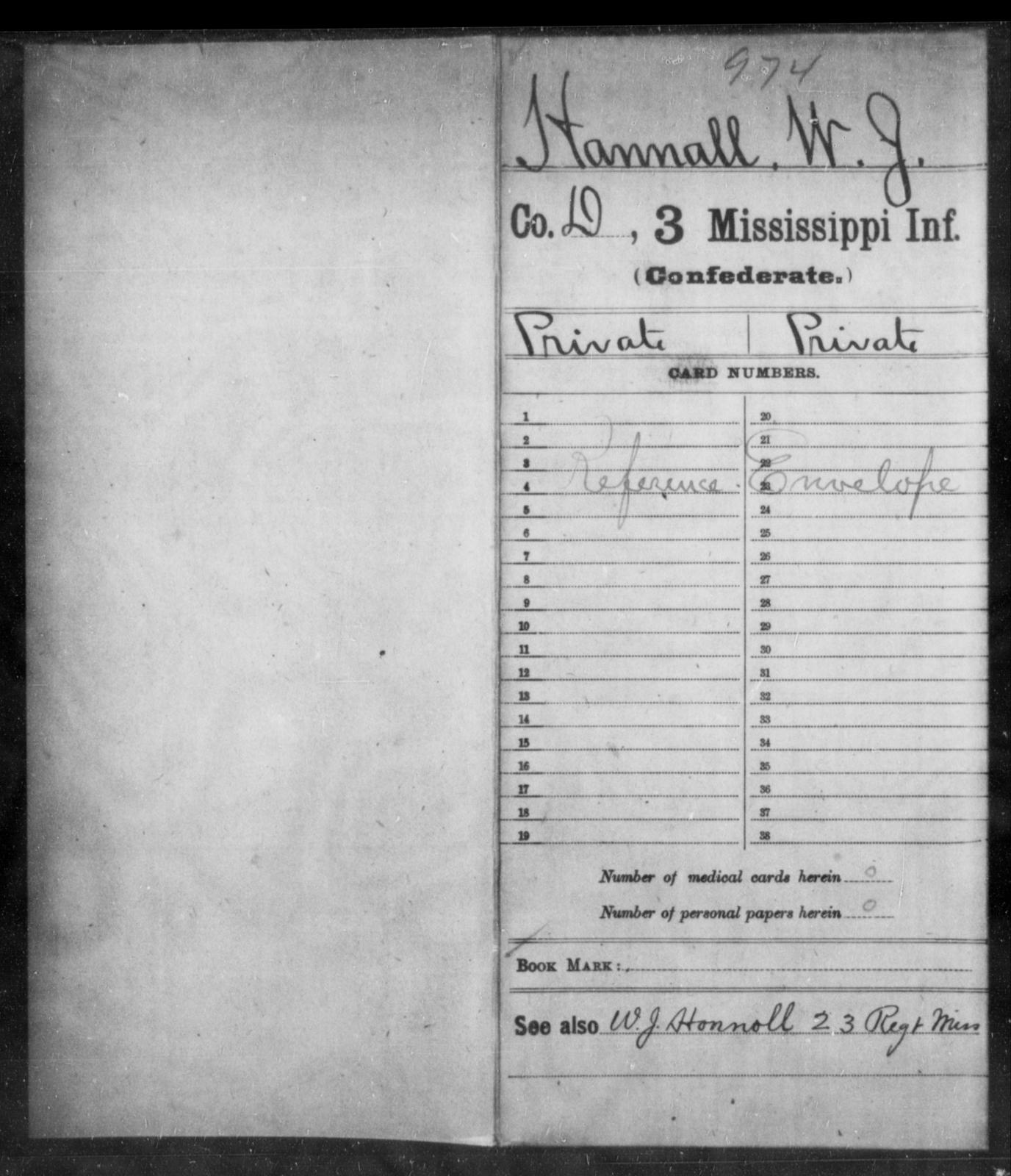 Hannall, W J - Age: [Blank], Year: [BLANK] - Mississippi Third Infantry, G-K