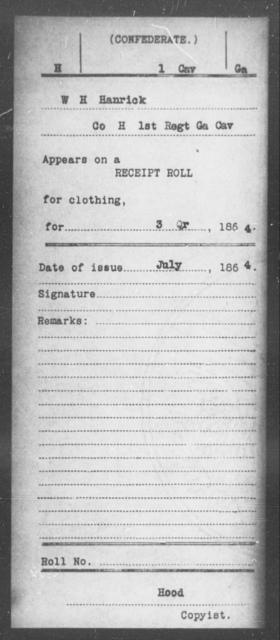Hanrick, W H - 1st Cavalry