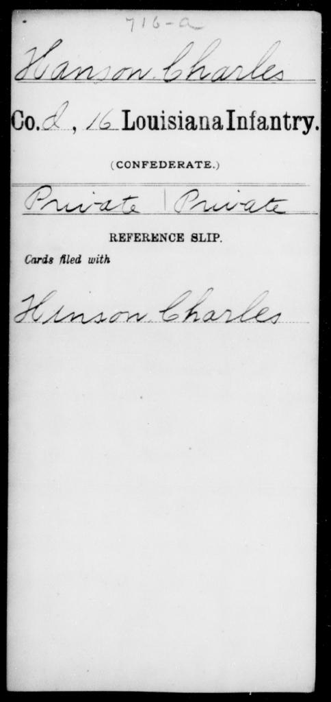 Hanson, Charles - Age [Blank], Year: [Blank] - Sixteenth Infantry, E - Ha - Louisiana