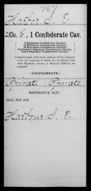 Harbor, S E - Age [Blank], Year: [Blank] - First Confederate Cavalry, D-H - Raised Directly by the Confederate Government