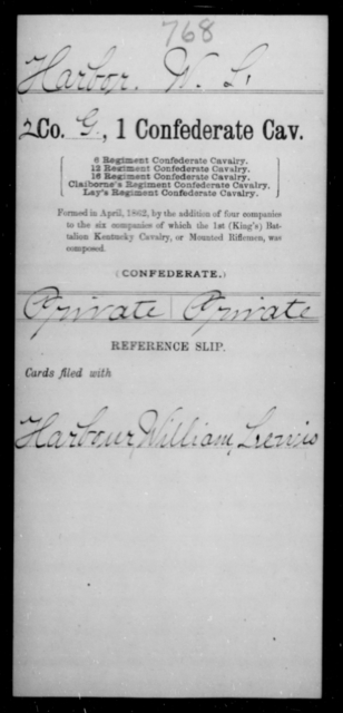 Harbor, W L - Age [Blank], Year: [Blank] - First Confederate Cavalry, D-H - Raised Directly by the Confederate Government