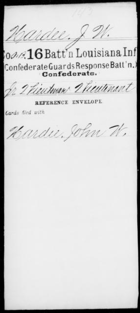Hardee, J W - Age [Blank], Year: [Blank] - Sixteenth Battalion, Infantry, A - L - Louisiana