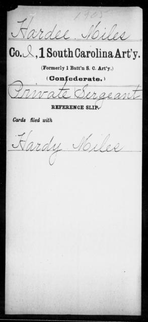 Hardee, Miles - Age: [Blank], Year: [BLANK] - South Carolina First Artillery Ge-Ho