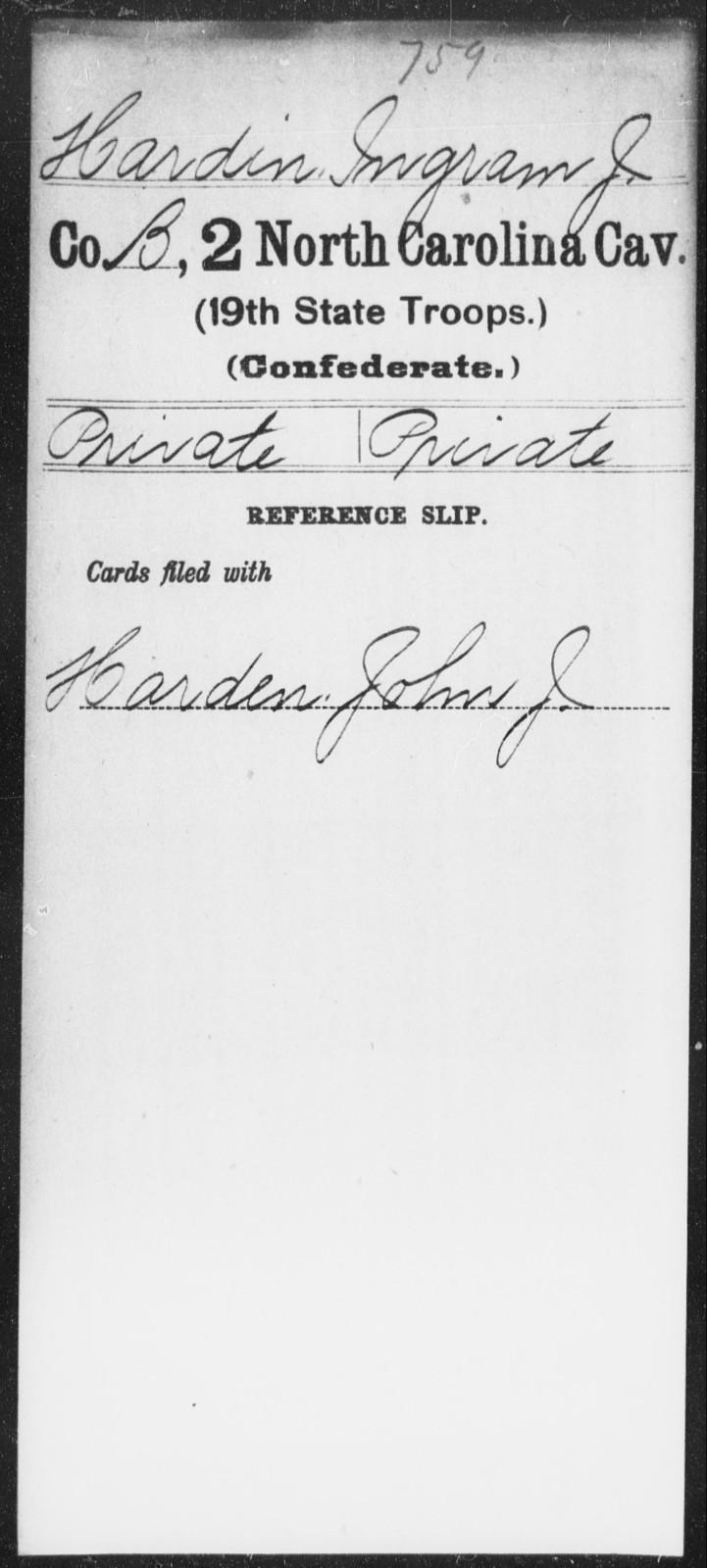 Hardin, Ingram J - Second Cavalry (19th State Troops)