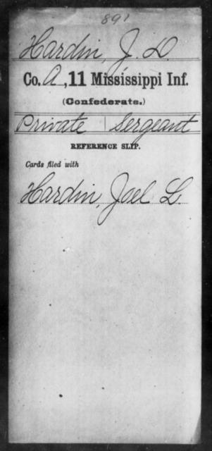 Hardin, J D - Age: [Blank], Year: [BLANK] - Mississippi Eleventh Infantry, H-I