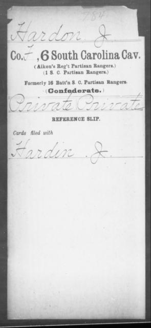 Hardon, J - Age: [Blank], Year: [BLANK] - South Carolina Sixth Cavalry G-H