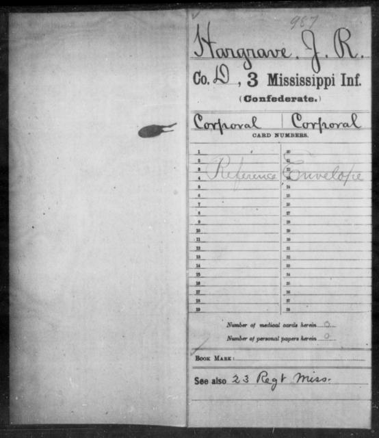 Hargrave, J R - Age: [Blank], Year: [BLANK] - Mississippi Third Infantry, G-K