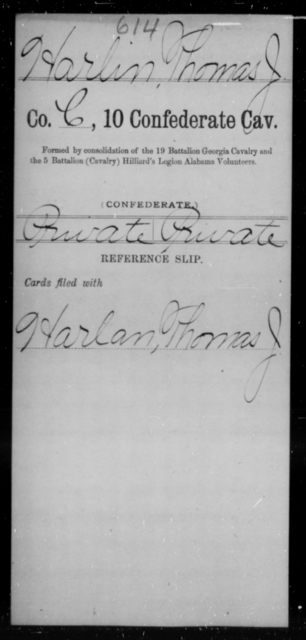 Harlin, Thomas J - Age [Blank], Year: [Blank] - Tenth Confederate Cavalry, F-K - Raised Directly by the Confederate Government