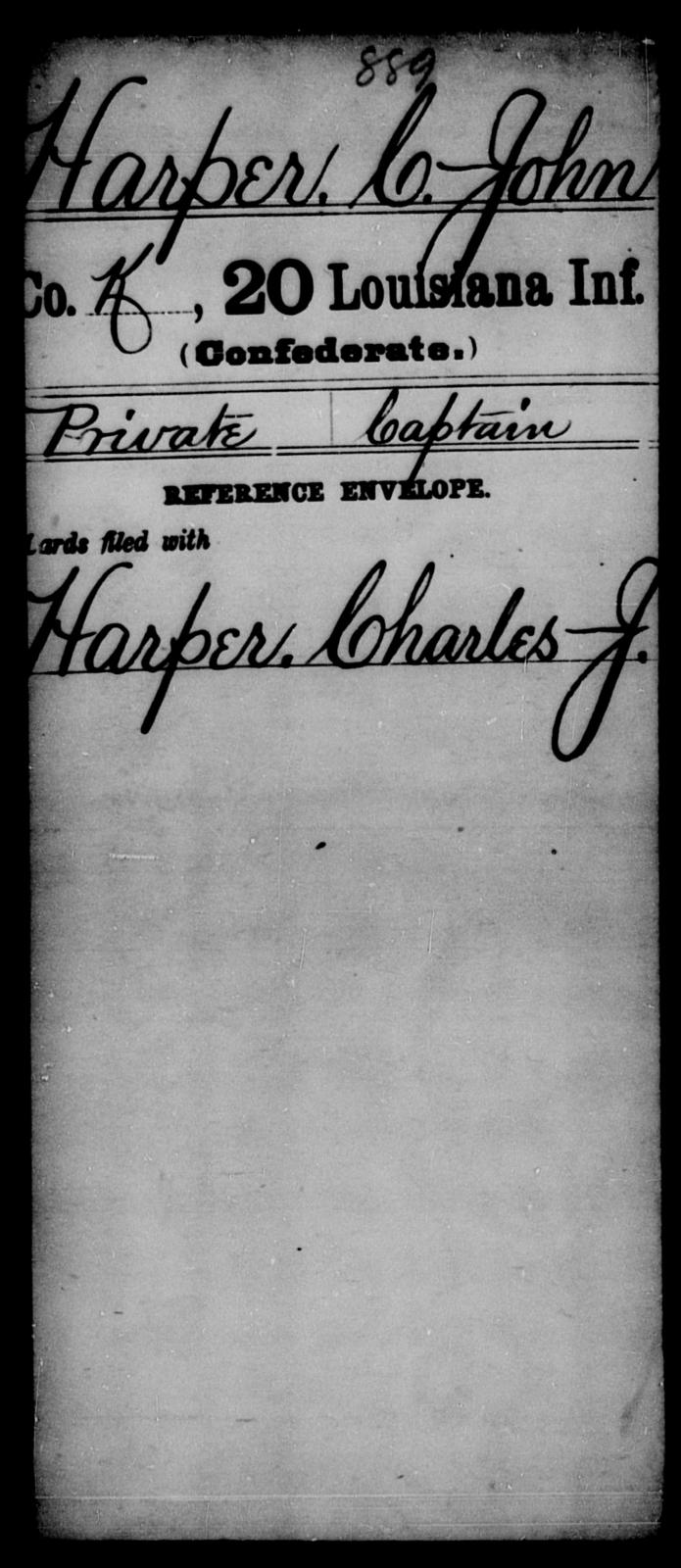 Harper, C John - Age [Blank], Year: [Blank] - Twentieth Infantry, E - Ha - Louisiana