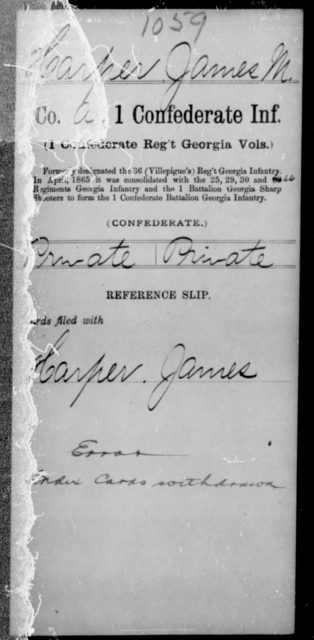 Harper, James M - Age [Blank], Year: [Blank] - First Confederate Infantry, F-Ha - Raised Directly by the Confederate Government