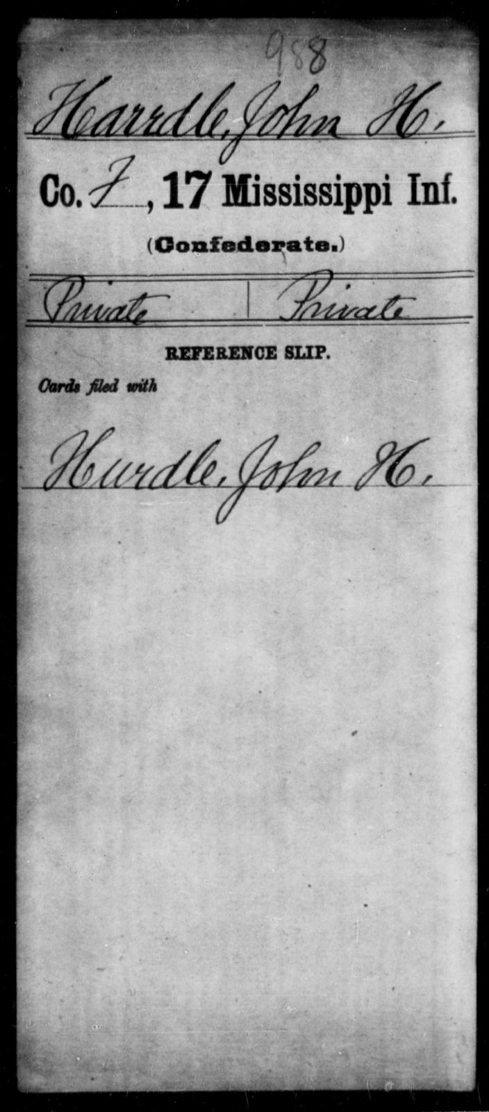 Harrdle, John H - Age: [Blank], Year: [BLANK] - Mississippi Seventeenth Infantry, G-Ha