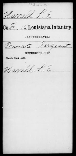 Harrell, L E - Age [Blank], Year: [Blank] - Sixteenth Infantry, E - Ha - Louisiana