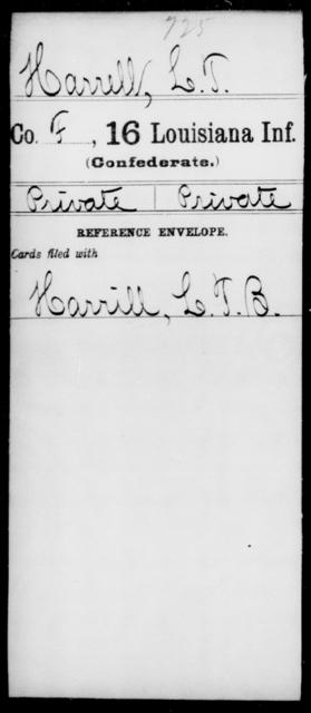 Harrell, L T - Age [Blank], Year: [Blank] - Sixteenth Infantry, E - Ha - Louisiana
