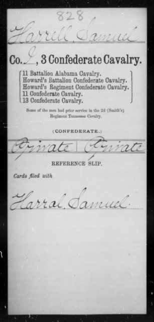 Harrell, Samuel - Age [Blank], Year: [Blank] - Third Confederate Cavalry, D-H - Raised Directly by the Confederate Government