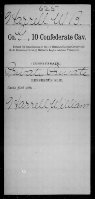 Harrell, W B - Age [Blank], Year: [Blank] - Tenth Confederate Cavalry, F-K - Raised Directly by the Confederate Government