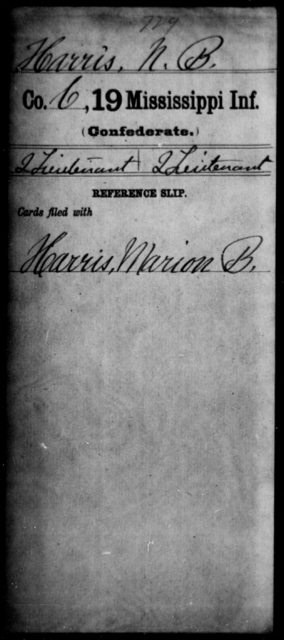 Harris, N B - Age: [Blank], Year: [BLANK] - Mississippi Nineteenth Infantry, G-He