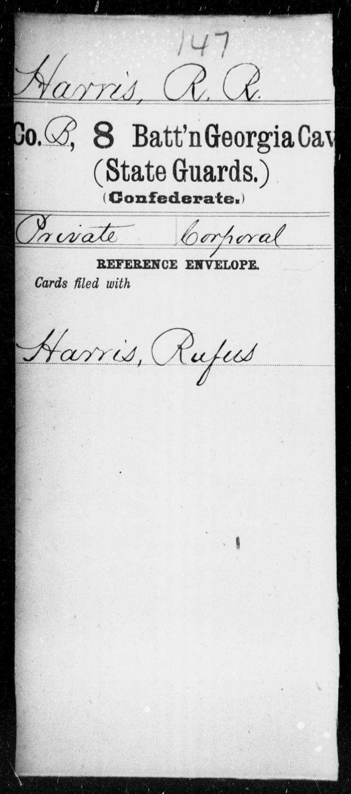 Harris, R R - 8th Battalion, Cavalry (State Guards) AND 9th Battalion, Cavalry (State Guards)