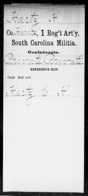 Hartz, H - Age: [Blank], Year: [BLANK] - South Carolina First Regiment Artillery, Militia